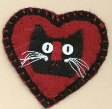 Black Cat Heart Pin